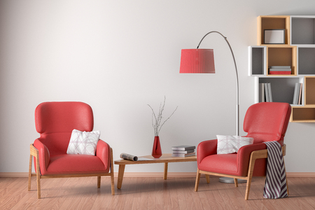 Interior of living room with cozy two red leather armchairs with plaid, wooden triangular coffee table, floor lamp and bookshelf on the white wall. 3d illustration.