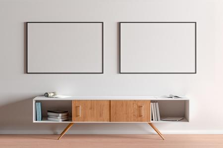 Zwei leere horizontale Poster mit schwarzem Rahmen über dem Schrank im Wohnzimmer. 3D-Darstellung