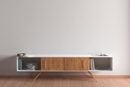 Blank wall mock up in living room interior with cabinet. 3d illustration