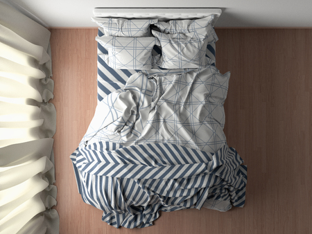 Bed with duvet, bedding and pillows on wooden floor in bedroom. Top view. 3d illustration