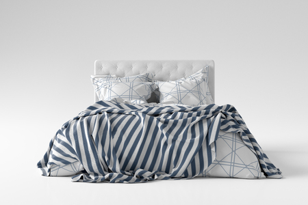 Bed with duvet, bedding and pillows isolated on white. Front view. 3d render Stock Photo