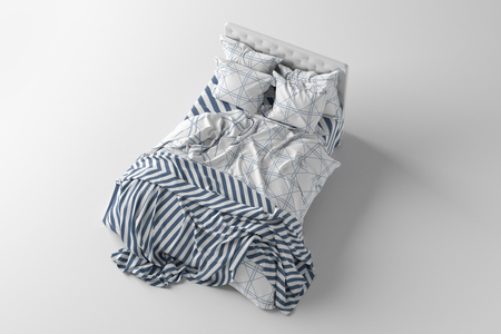 Bed with duvet, bedding and pillows isolated on white. Top  side view. 3d render