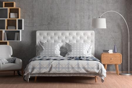 Interior de dormitorio con cama con edredón, ropa de cama y almohadas, estantería, mesita de noche, sillón y lámpara de pie en dormitorio de pared de hormigón. Representación 3D. Foto de archivo
