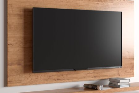 TV mock up on the wooden plate on the wall in modern living room. 3d illustration