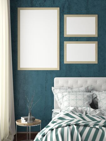 Verical and small horizontal posters frames mock up on cyan wall in bedroom. 3d illustration Foto de archivo