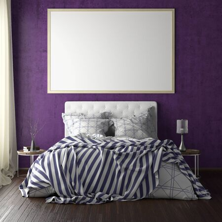 Latge horizontal poster frame mockup above the bed on violet wall in bedroom. Soft morning light through the curtain. 3d illustration