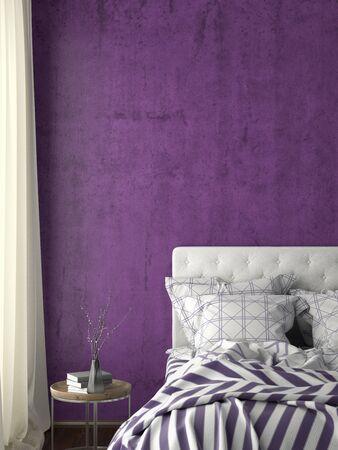 Blank violet wall mock up in bedroom. 3d illustration