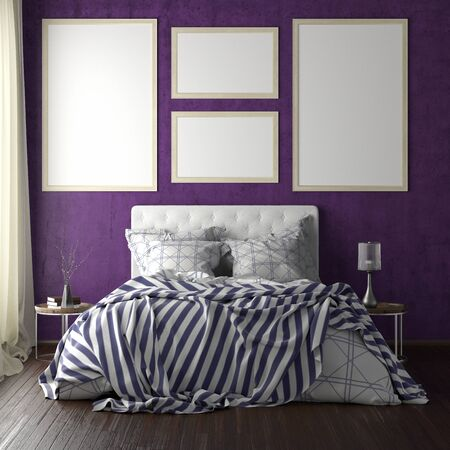 Poster frames mockups above the bed on violet wall in bedroom. Soft morning light through the curtain. 3d illustration Imagens