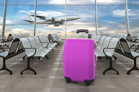 Violet traveling luggage in airport terminal and passenger plane flying over sky on background. 3d illustration