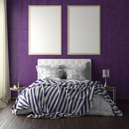 Two vertical poster frame mockups above the bed on violet wall in bedroom. Soft morning light through the curtain. 3d illustration