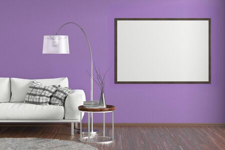 Blank horizontal poster on violet wall in interior of living room with white leather couch, carpet, floor lamp and coffee table on hardwood flooring. 3d illustration Imagens