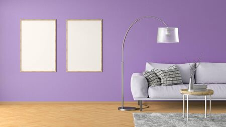 Two blank vertical posters on violet wall in interior of living room with pink leather couch, carpet, floor lamp and coffee table on hardwood flooring. 3d illustration