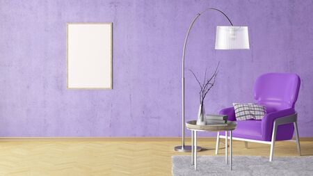Blank vertical poster on violet concrete wall in interior of living room with leather armchair, carpet, floor lamp and coffee table on hardwood flooring. 3d illustration