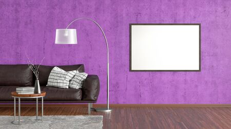 Blank horizontal poster on violet concrete wall in interior of living room with brown leather couch, carpet, floor lamp and coffee table on hardwood flooring. 3d illustration