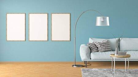 Three blank vertical posters on cyan wall in interior of living room with leather couch, carpet, floor lamp and coffee table on hardwood flooring. 3d illustration