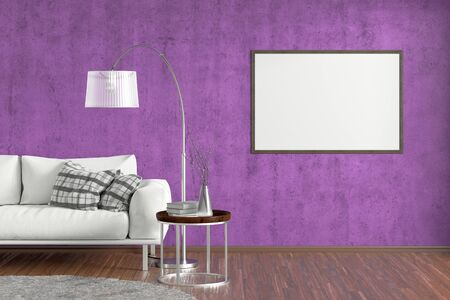 Blank horizontal poster on violet concrete wall in interior of living room with white leather couch, carpet, floor lamp and coffee table on hardwood flooring. 3d illustration