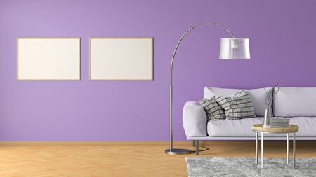 Two blank horizontal posters on violet wall in interior of living room with pink leather couch, carpet, floor lamp and coffee table on hardwood flooring. 3d illustration Imagens