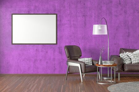 Blank horizontal poster on violet concrete wall in interior of living room with brown leather sofa and armchair, carpet, floor lamp and coffee table on hardwood flooring. 3d illustration