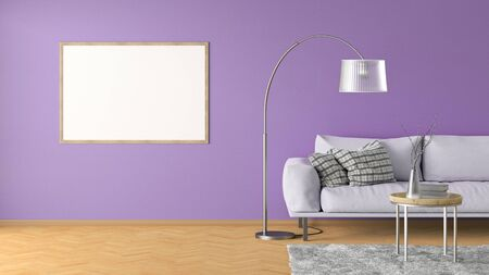 Blank horizontal poster on violet wall in interior of living room with pink leather couch, carpet, floor lamp and coffee table on hardwood flooring. 3d illustration