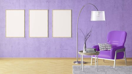 Three blank vertical posters on violet concrete wall in interior of living room with leather armchair, carpet, floor lamp and coffee table on hardwood flooring. 3d illustration Imagens