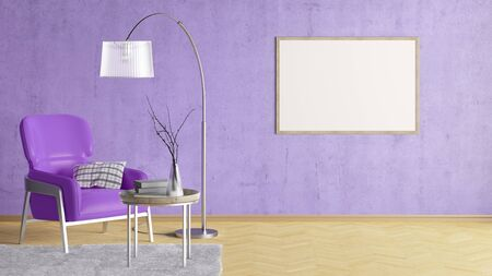 Blank horizontal poster on violet concrete wall in interior of living room with leather armchair, carpet, floor lamp and coffee table on hardwood flooring. 3d illustration Imagens