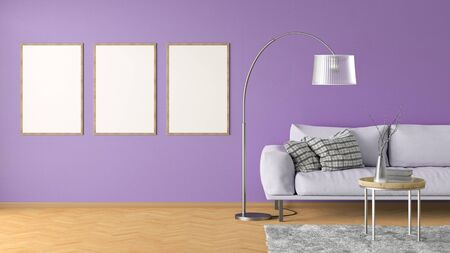 Three blank vertical posters on violet wall in interior of living room with pink leather couch, carpet, floor lamp and coffee table on hardwood flooring. 3d illustration