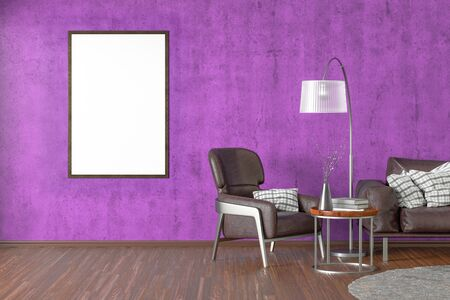 Blank vertical poster on violet concrete wall in interior of living room with brown leather sofa and armchair, carpet, floor lamp and coffee table on hardwood flooring. 3d illustration