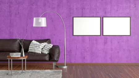 Two blank horizontal posters on violet concrete wall in interior of living room with brown leather couch, carpet, floor lamp and coffee table on hardwood flooring. 3d illustration