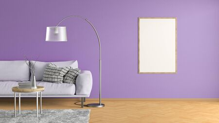 Blank vertical poster on violet wall in interior of living room with pink leather couch, carpet, floor lamp and coffee table on hardwood flooring. 3d illustration