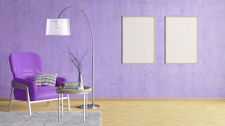 Two blank vertical posters on violet concrete wall in interior of living room with leather armchair, carpet, floor lamp and coffee table on hardwood flooring. 3d illustration