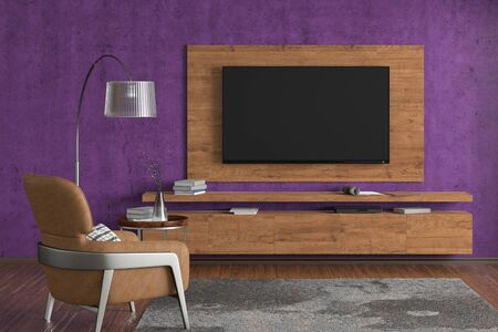 TV on the violet concrete wall of modern living room with cabinet, brown leather armchair, coffee table, floor lamp and fur carpet. 3d illustration Imagens