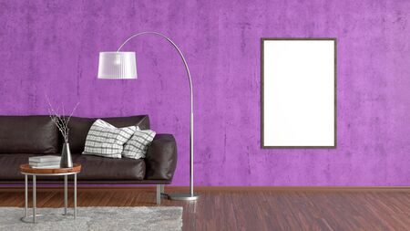 Blank vertical poster on violet concrete wall in interior of living room with brown leather couch, carpet, floor lamp and coffee table on hardwood flooring. 3d illustration