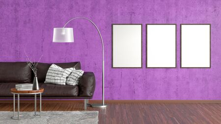 Three blank vertical posters on violet concrete wall in interior of living room with brown leather couch, carpet, floor lamp and coffee table on hardwood flooring. 3d illustration