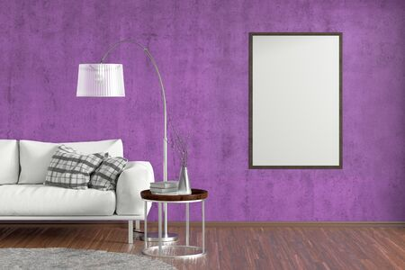 Blank vertical poster on violet concrete wall in interior of living room with white leather couch, carpet, floor lamp and coffee table on hardwood flooring. 3d illustration Imagens