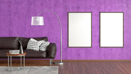 Two blank vertical posters on violet concrete wall in interior of living room with brown leather couch, carpet, floor lamp and coffee table on hardwood flooring. 3d illustration
