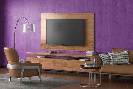 TV on the violet concrete wall of modern living room with cabinet, brown leather armchair and couch, coffee table, floor lamp and fur carpet. 3d illustration Imagens