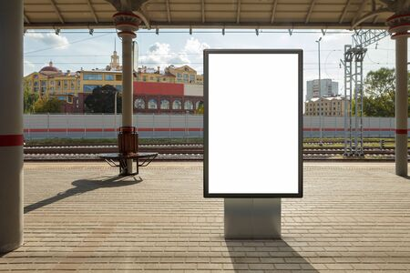 Blank billboard poster stand mock up on platform of raillway station. 3d illustration. Stock Photo