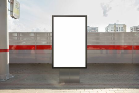 Blank billboard poster stand mock up on platform of railway station. 3d illustration. Stock Photo