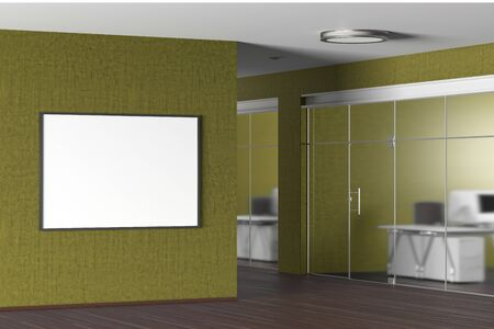 Blank horizontal poster on the yellow wall in modern office. 3d illustration Stock Photo