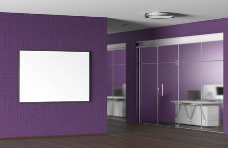 Blank horizontal poster on the fuchsia wall in modern office. 3d illustration