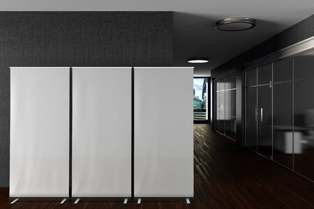 Three  blank roll up banner stands mock up in gray modern office interior. 3d illustration