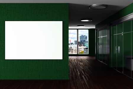 Blank horizontal poster on the wall in green modern office interior. 3d illustration