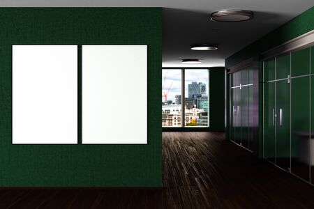 Two blank  horizontal posters mock up on the wall in green modern office interior. 3d illustration 스톡 콘텐츠