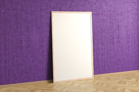 Blank interior poster mock up with wooden frame in magenta interior of living room. 3D illustration.
