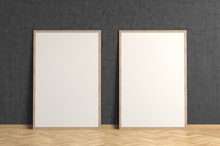 Two blank interior posters mock up with wooden frame in black interior of living room. 3D illustration.