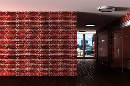 Modern office interior with blank red brick wall mock up. 3d illustration 스톡 콘텐츠