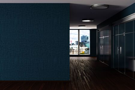 Modern office interior with blank cyan wall mock up. 3d illustration 스톡 콘텐츠