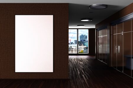 Blank large vertical poster mock up on the brown wall in modern office interior. 3d illustration