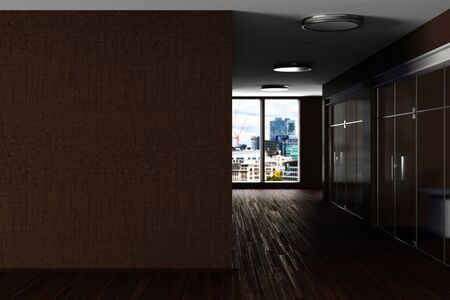 Modern office interior with brown blank wall mock up. 3d illustration