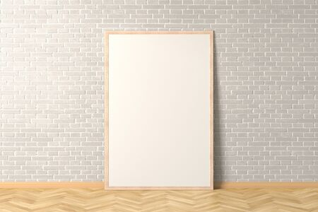 Blank interior poster mock up with wooden frame in white brick interior of living room. 3D illustration. 스톡 콘텐츠